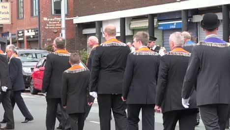 Northern-Ireland-Orangemen-Marching-In-Small-Town