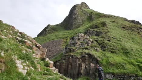 Northern-Ireland-Basalt-Columns-Between-Grassy-Heights-At-Giants-Causeway-