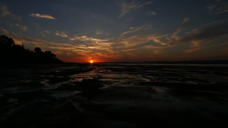 Canada-Bay-Of-Fundy-Grand-Pre-Evangeline-Beach-Late-Sunset-Time-Lapse
