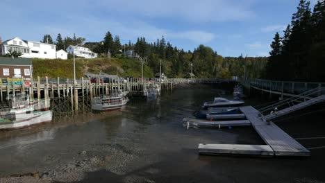 Canadá-Bahía-De-Fundy-Halls-Puerto-Marea-Reflujo-Alto-Bajo-Desvanecimiento
