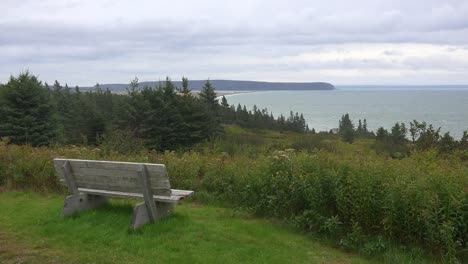 Canada-Bay-Of-Fundy-Bench-On-Hill-Above-Bay