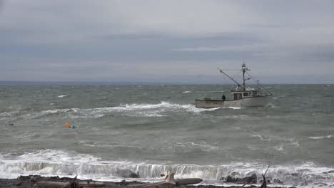 Canada-Bay-Of-Fundy-Boat-In-Rough-Sea