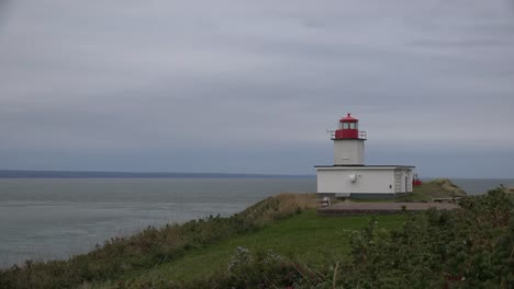 Canada-Nova-Scotia-Small-Lighthouse-Above-Bay-Of-Fundy