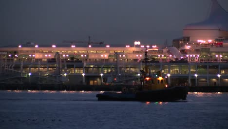 Canada-Cruise-Ship-And-Tug-At-Night