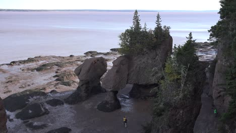 Canada-Looking-Down-At-People-Wandering-Around-At-Hopewell-Rocks