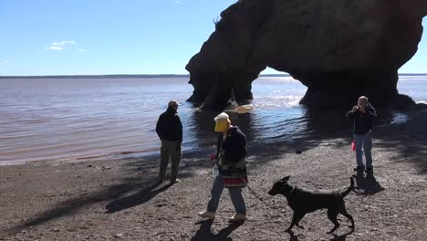 Canada-People-With-A-Dog-At-Hopewell-Rocks