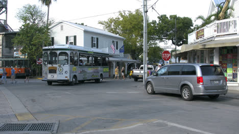 Florida-Key-West-Intersection-With-Trolley