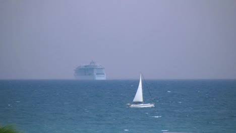 Florida-Key-West-Sailboat-And-Distant-Cruise-Ship