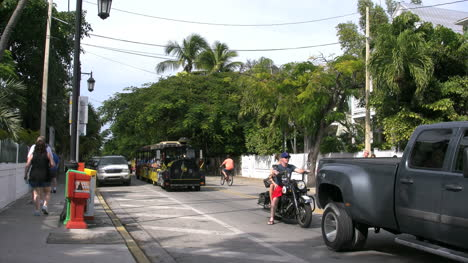 Florida-Key-West-Street-Motorcycle-And-Trolley