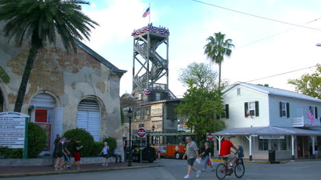Florida-Key-West-Tower-And-Tourists-On-Street