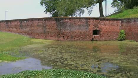 Louisiana-Fort-Jackson-Brick-Wall-And-Moat