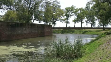 Louisiana-Fort-Jackson-Moat-And-Wall