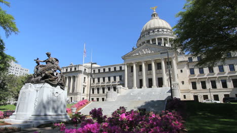 Mississippi-State-House-Statue-And-Azaleas