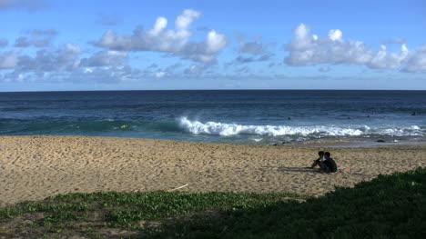 Oahu-Playa-De-Arena-Pareja-En-Arena