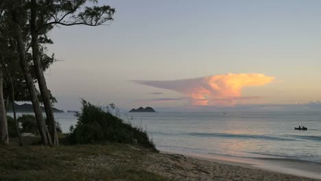 Oahu-Waimanalo-Sunrise-Cloud-And-Canoe