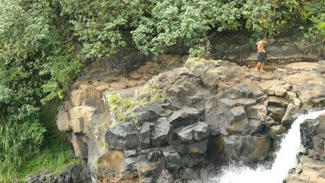 Samoa-Young-Man-Above-Waterfall