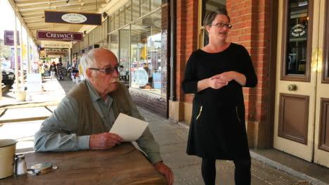 Australia-Beechworth-Man-And-Woman-Talking