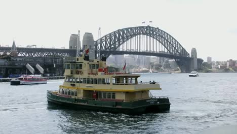 Australia-Sydney-Harbour-Bridge-With-Ferry-Turning
