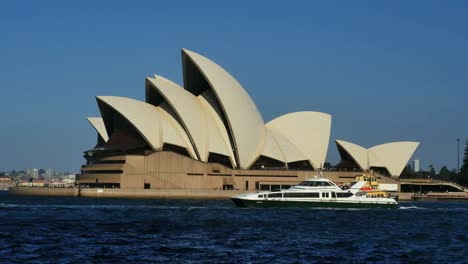 Australia-Sydney-Opera-House-Traditional-And-Modern-Ferries-Pass-By