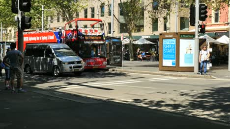 Australia-Sydney-People-And-Bus-At-Cross-Walk