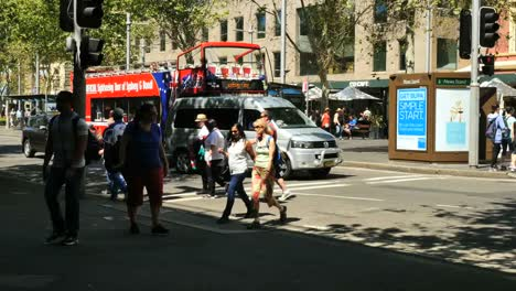 Australia-Sydney-People-Crossing-Street-In-Front-Of-Bus-And-Car