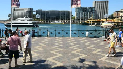 Australia-Sydney-People-Walking-Along-By-Water