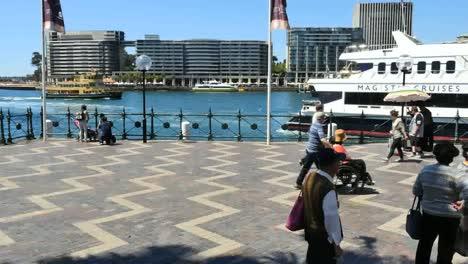 Australia-Sydney-People-Walking-By-Water-Time-Lapse