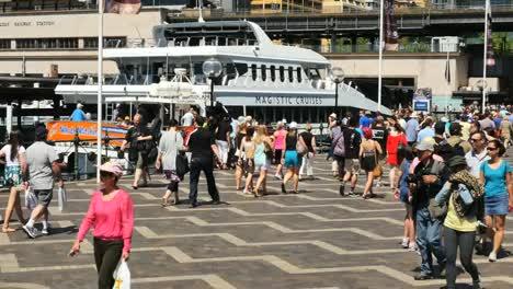 Australia-Sydney-People-Walking-Past-Ship-On-Quay