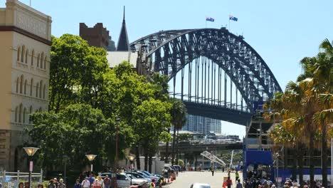 Australia-Sydney-Busy-Street-And-Harbour-Bridge