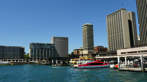Australia-Sydney-Ferry-Pulls-In-At-Circular-Quay-Time-Lapse