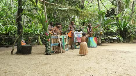 Vanuatu-Ekasup-Band-With-Little-Girl-In-Grass-Skirt