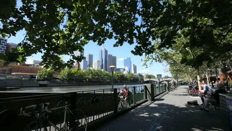 Australia-Melbourne-South-Bank-With-Bicycle-Walkway