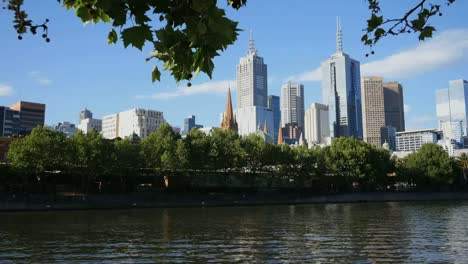 Australia-Melbourne-Yarra-River-And-Leaf-Framed-Skyline