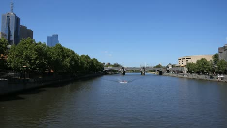Australia-Melbourne-Yarra-River-Boat-In-Distance