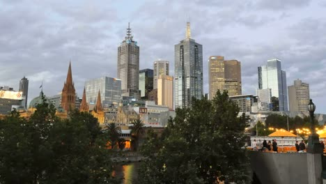 Australia-Melbourne-Evening-Skyline