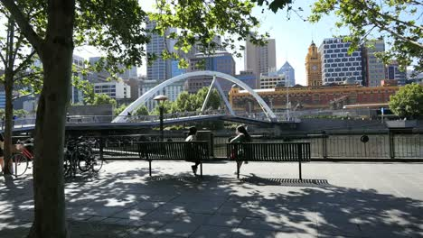 Australia-Melbourne-Foot-Bridge-Yarra-River-Beyond-Girls-On-Bench