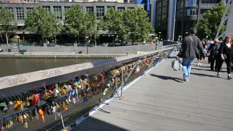 Australia-Melbourne-Foot-Bridge-Yarra-River-With-Locks-On-Railing