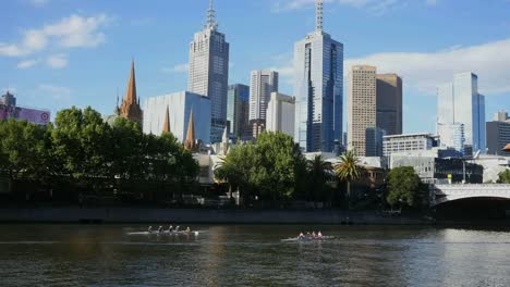 Australia-Melbourne-Two-Shells-Rowing-On-River