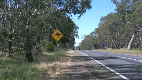Australia-Road-With-Kangaroo-Sign-And-Motorcycle
