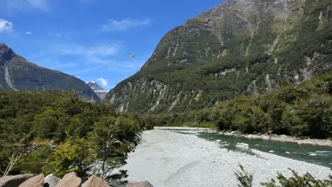 New-Zealand-Fiordland-Cleddau-River-Follows-Airplane