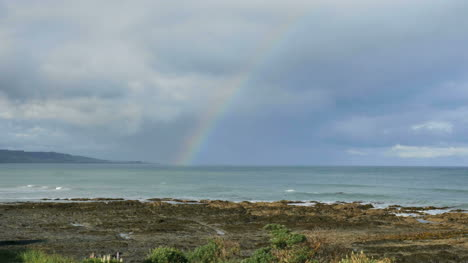 New-Zealand-Kaka-Point-Rainbow-Over-Tide-Pools