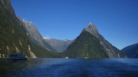 New-Zealand-Milford-Sound-Mitre-Peak-With-Boats