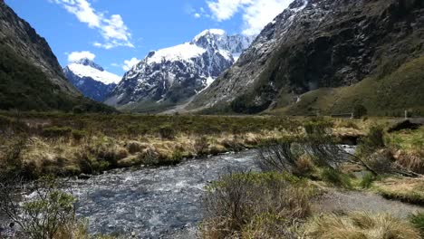 New-Zealand-River-And-Snow-On-Mountain-Fiordland
