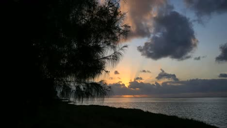Aitutaki-Sunset-With-Cloud-Shore-Pine-And-Lagoon