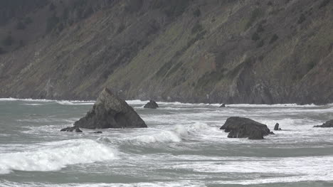 California-Waves-On-A-Rock-By-Highway