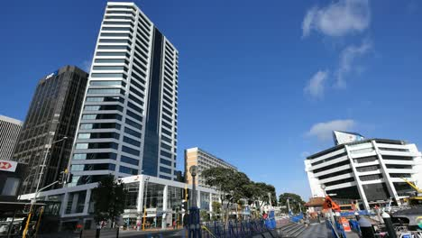 New-Zealand-Auckland-Street-With-Tall-Building