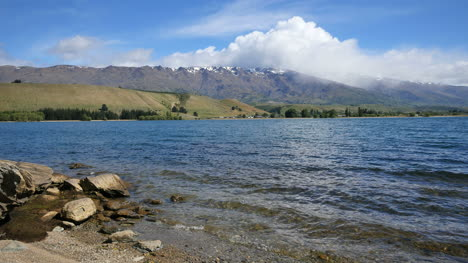 New-Zealand-Lake-Dunstan-With-Moraine-And-Cloud
