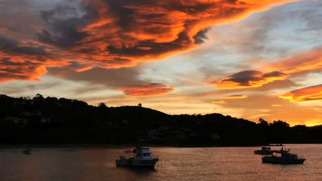 New-Zealand-Moeraki-Boats-Moored-In-Bay-At-Sunset-Pan