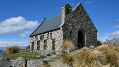 New-Zealand-Historic-Church-With-Grass-At-Lake-Tekapo-Pan