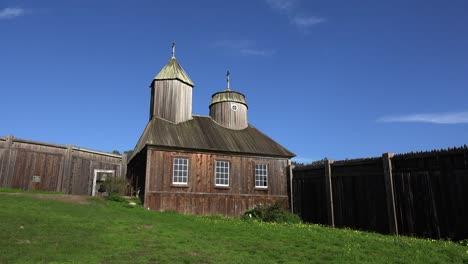 Kalifornien-Fort-Ross-Russische-Kirche-Seitenansicht